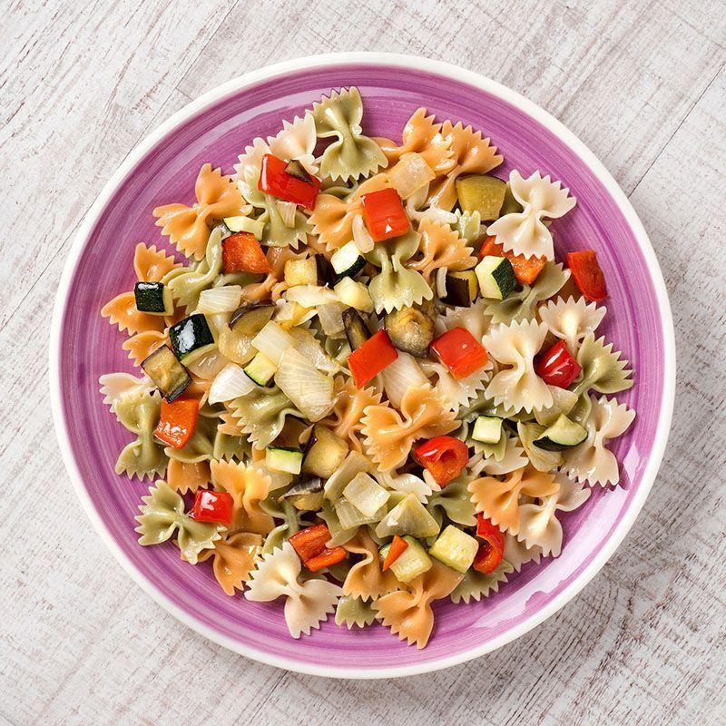 Ensalada de farfalle tricolor con verduras asadas (400 gr.)