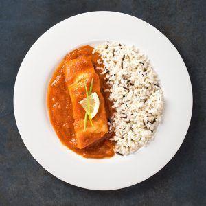 Lomo de bacalao con tomate frito casero y mezcla de arroz salvaje