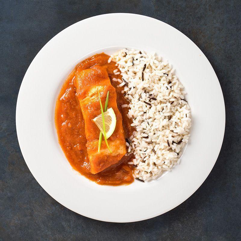 Lomo de bacalao con tomate frito casero y mezcla de arroz salvaje (450 gr.)