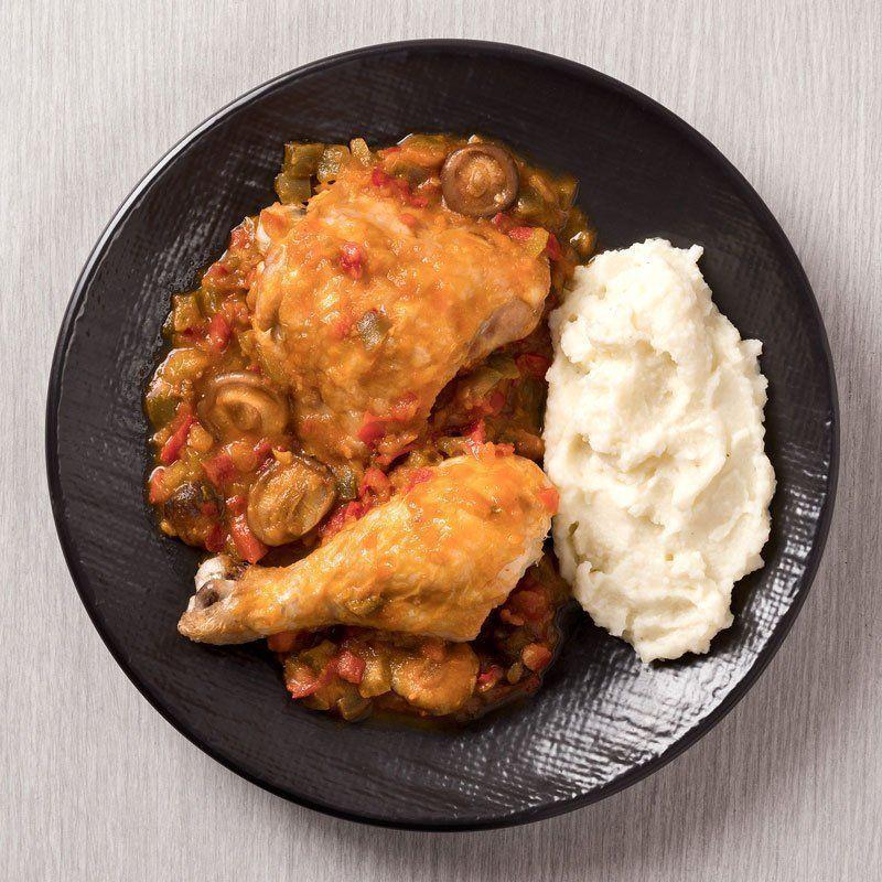 Pollo asado al chilindrón con puré de patatas casero (450 gr.)